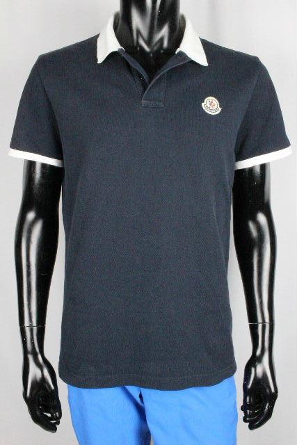 モンクレール [ MONCLER ] ワッペン ロゴ ポロシャツ ネイビー 紺色 半袖 SIZE[L] メンズ トップス カットソー Tシャツ