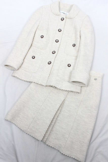 シャネル [ CHANEL ] ウール セットアップ スーツ オフホワイト P49405 SIZE[38] レディース ジャケット コート スカート