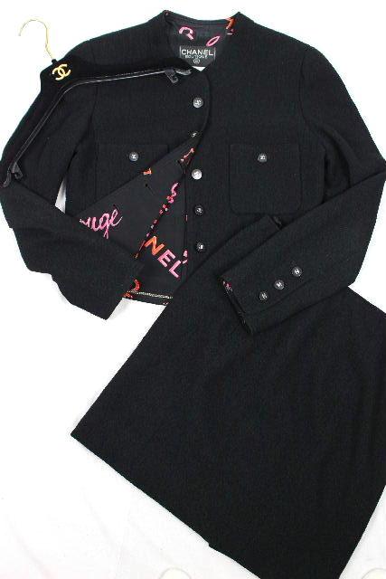 シャネル [ CHANEL ] 96P ヴィンテージ セットアップ スーツ ブラック P07026 SIZE[40] ビンテージ ノーカラー ジャケット スカート
