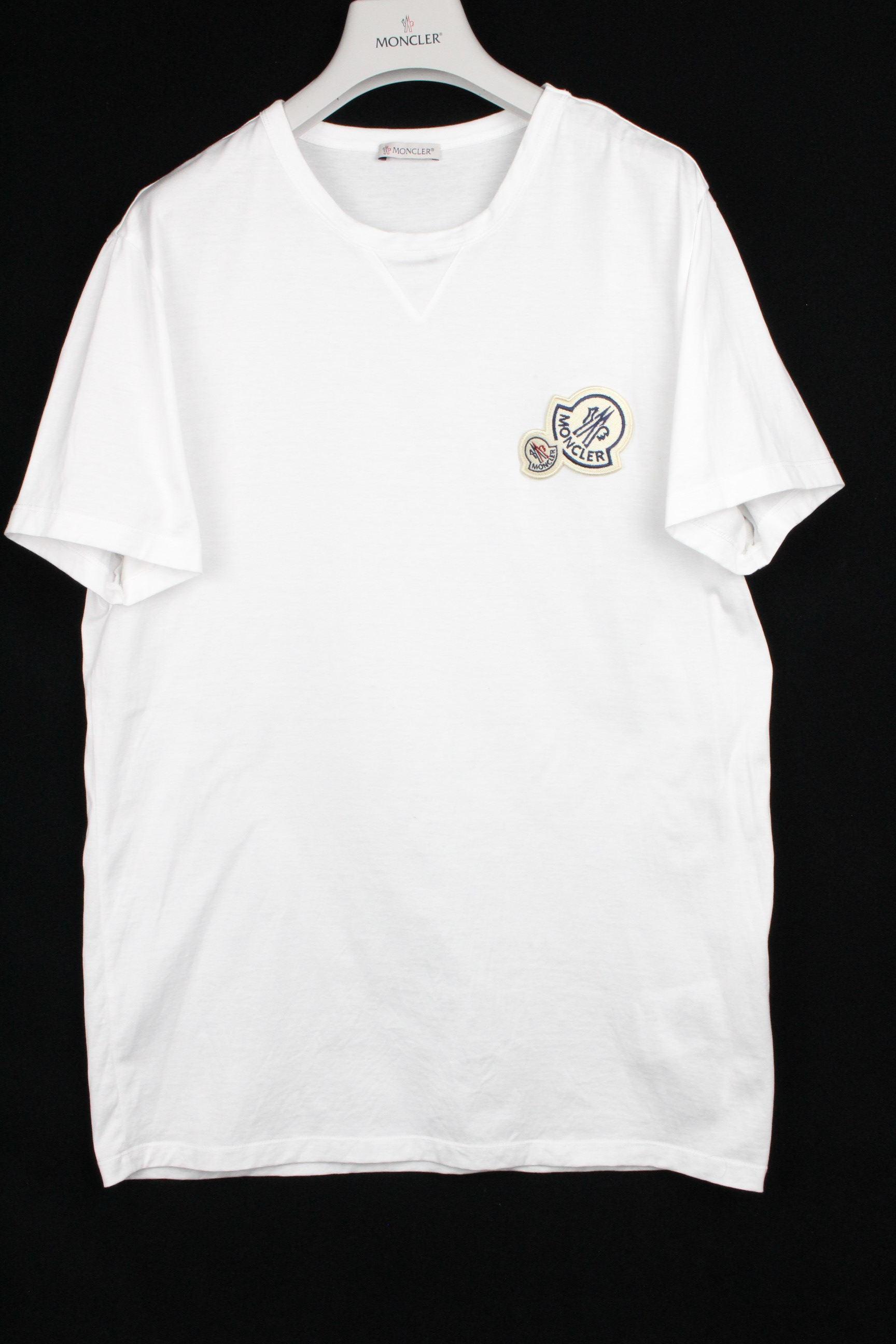 モンクレール [ MONCLER ] 2019 デカワッペン Tシャツ ホワイト 白 半袖 SIZE[L] メンズ トップス カットソー