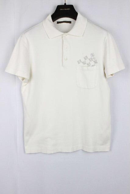 ルイヴィトン [ LOUISVUITTON ] ダミエ ポケット ポロシャツ ホワイト 白 半袖 SIZE[XS] メンズ ヴィトン ビトン カットソー Tシャツ