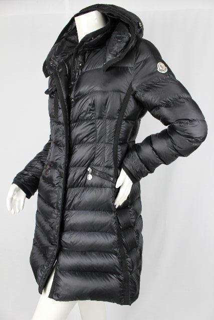 モンクレール [ MONCLER ] フレアー ダウンコート ブラック 黒 エルミンヌ HERMINE SIZE[0] レディース フード付き ロング ダウンジャケット