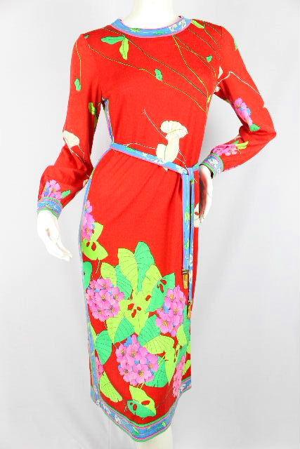 レオナール [ LEONARD ] フラワー ニット ロングワンピース レッド 赤 SIZE[M] 花柄 ドレス フリンジ ベルト ワンピ