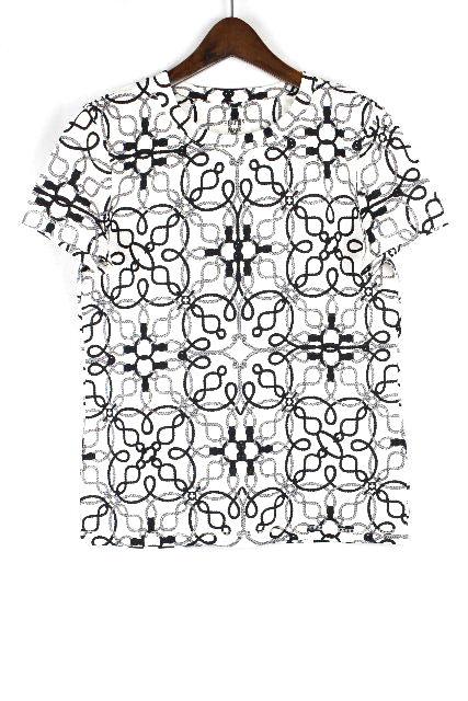 エルメス [ HERMES ] 柄物 鹿の子 ポロシャツ カットソー ホワイト 白 半袖 SIZE[36] レディース トップス プルオーバ