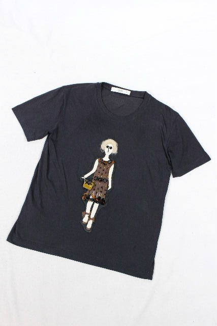 プラダ [ PRADA ] デコレーション Tシャツ ブラック 黒 半袖 SIZE[XS] レディース トップス プルオーバー カットソー