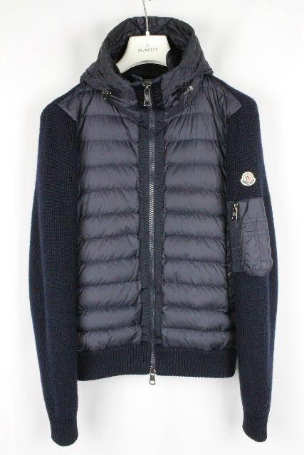 モンクレール [ MONCLER ] ダウン ニット パーカー ネイビー 紺色 SIZE[S] メンズ アウター セーター ダウンジャケット