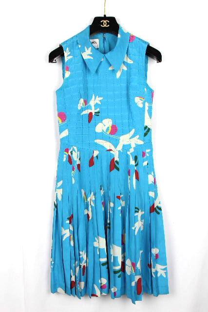 シャネル [ CHANEL ] 00T ヴィンテージ ワンピース ブルー P15570 SIZE[36] ビンテージ ワンピ プリーツスカート