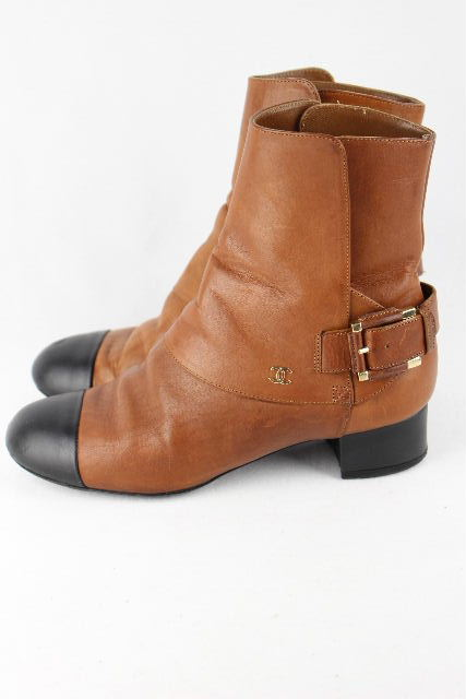 シャネル [ CHANEL ] ココマーク バイカラー ショートブーツ G29423 SIZE[35.5C] レディース ローヒール ブーツ ブラウン ブラック