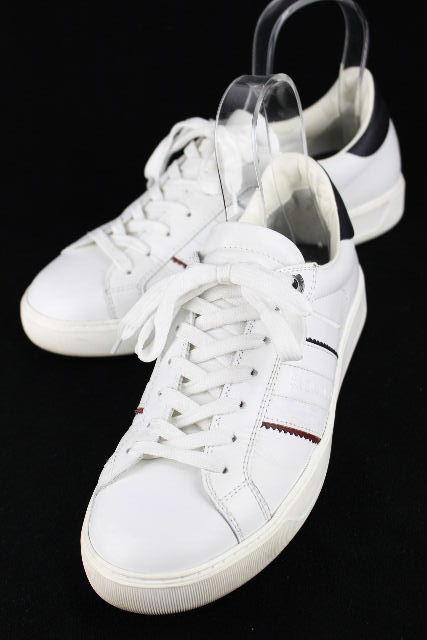 モンクレール [ MONCLER ] ロゴ トリコロール レザー スニーカー ホワイト 白 SIZE[41] メンズ ローカット シューズ