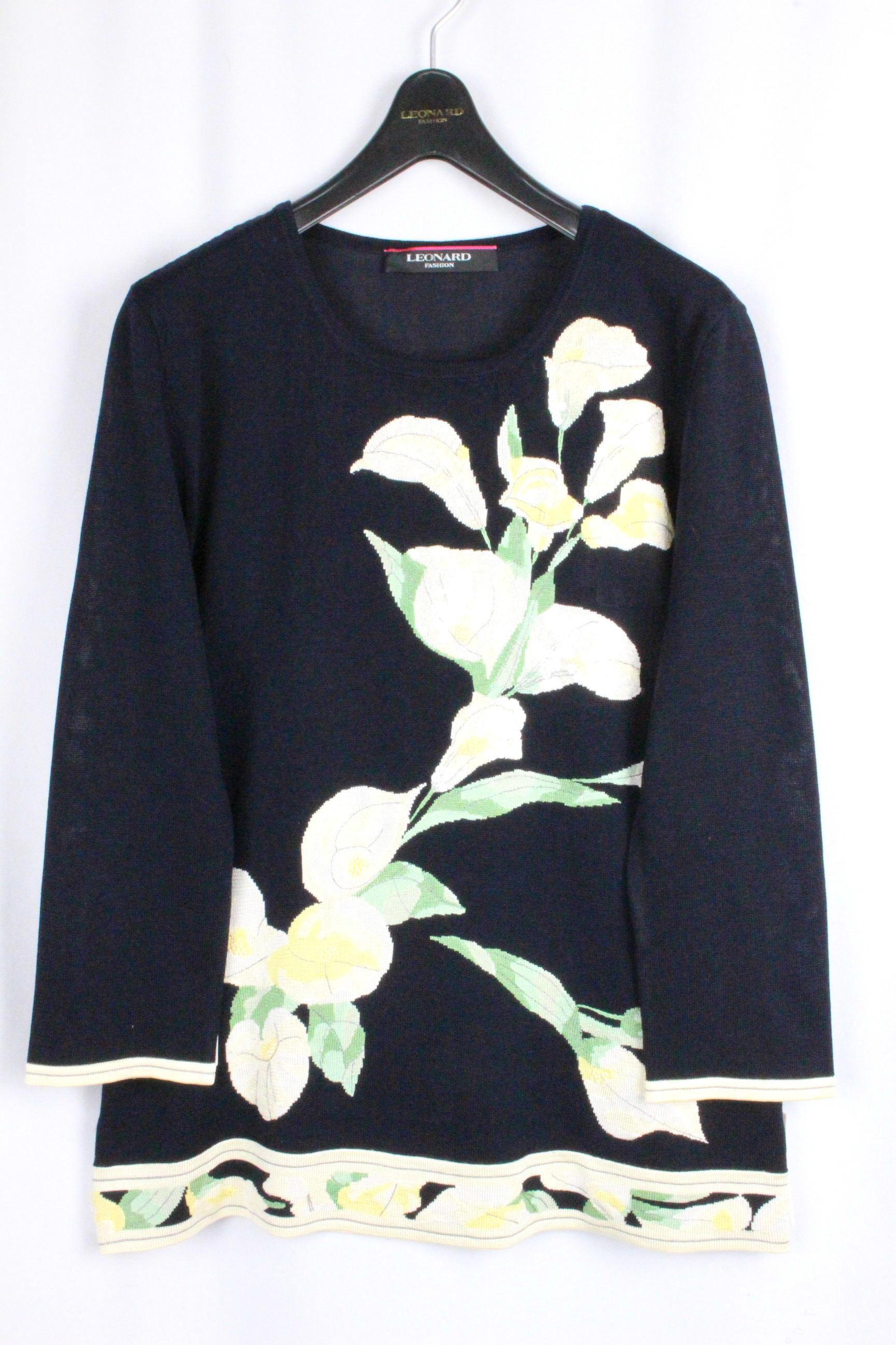 レオナール [ LEONARD ] パール スパンコール フラワー ニット ブラック 長袖 SIZE[38] レディース トップス セーター 花柄