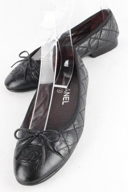 シャネル [ CHANEL ] リボン ココ キルティング バレエシューズ G26250 SIZE[36.5C] レディース フラットシューズ ブラック 黒