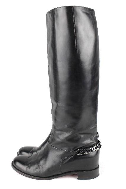 クリスチャンルブタン [ Louboutin ] チェーン レザー ロングブーツ ブラック 黒 SIZE[38.5] レディース ルブタン ブーツ