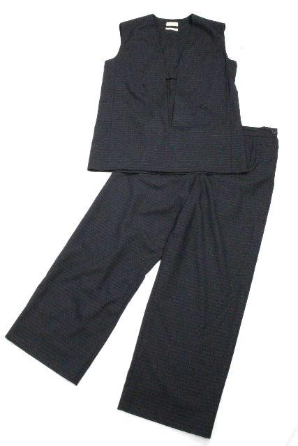 エルメス [ HERMES ] マルジェラ ヴァルーズ セットアップ スーツ ネイビー SIZE[38 40] レディース トップス パンツ