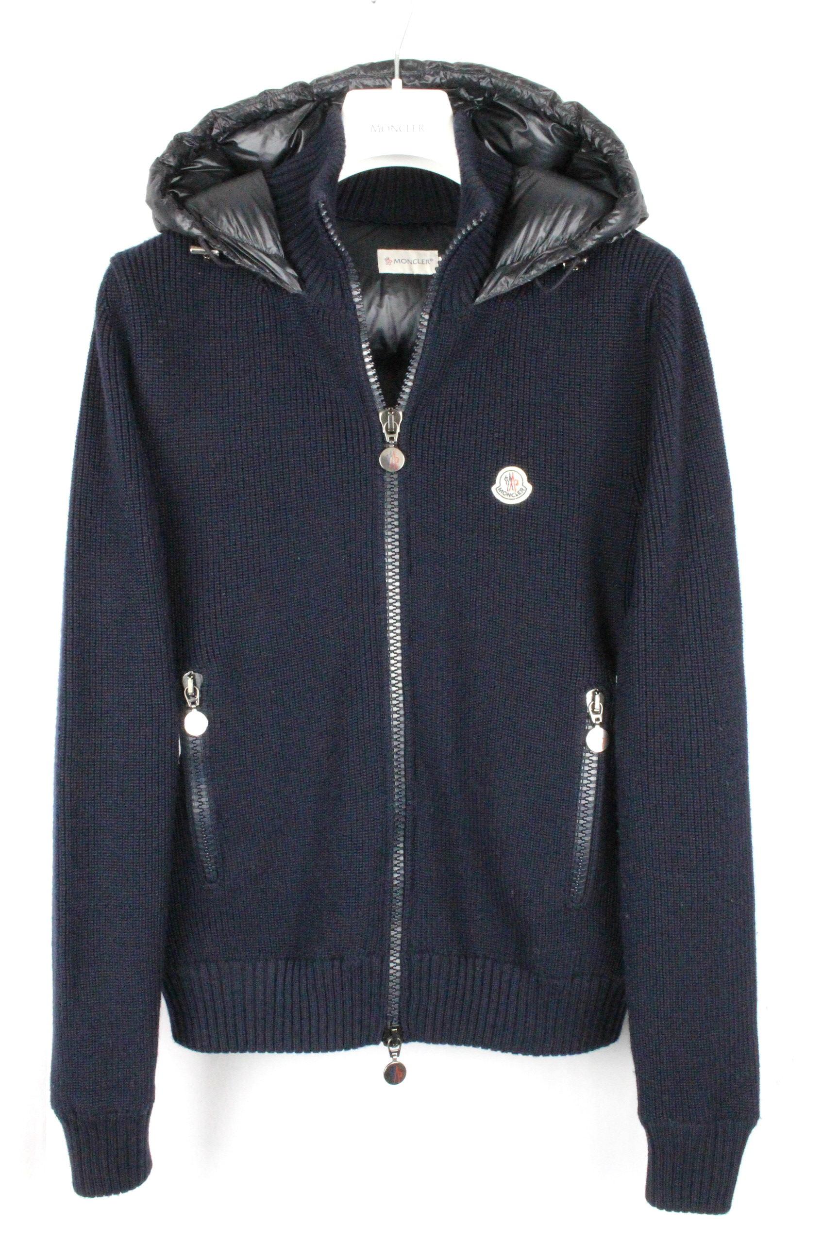 モンクレール [ MONCLER ] ダウン ニットパーカー ネイビー 紺色 SIZE[S] メンズ ダウンジャケット セーター パーカ フードE351 AO-5907