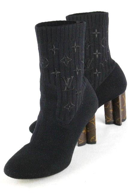 ルイヴィトン [ LOUISVUITTON ] モノグラム柄 ソックス ブーツ ブラック 黒 SIZE[36] レディース ヴィトン ビトン ショートブーツ