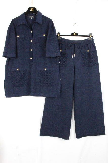 シャネル [ CHANEL ] 21SS チュニック セットアップ ネイビー 紺色 P70430 SIZE[34 36] レディース シャツ パンツ