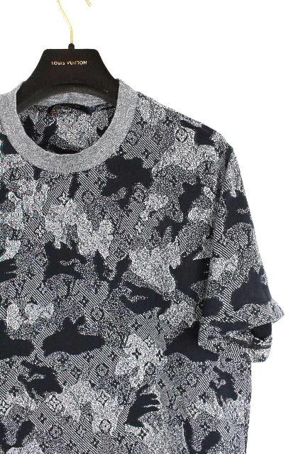 ルイヴィトン [ LOUISVUITTON ] 20SS 全面モノグラム カモフラージュ ジャガード Tシャツ [L] メンズ トップス カモフラ カットソー