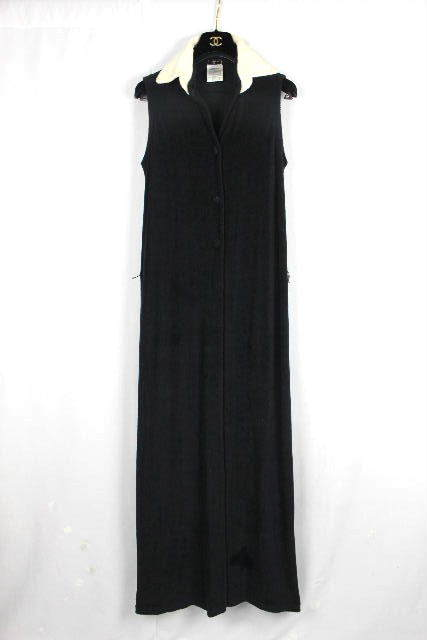 シャネル [ CHANEL ] 付け襟 ココボタン バイカラー パイル ロングワンピース [38] ワンピース ドレス ワンピ ブラック E825
