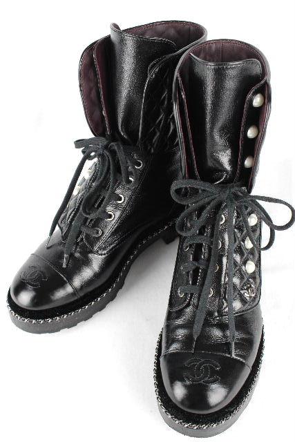 シャネル [ CHANEL ] 18K パール マトラッセ ショートブーツ ブラック G33185